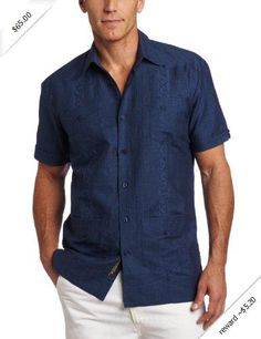 Cubavera Men's Short Sleeve Stripe Guayabera Shirt, Dress Blues, Large