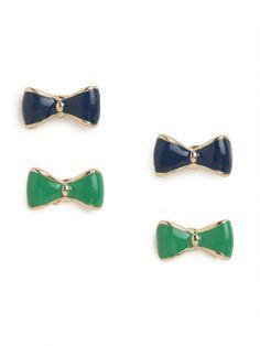 navy blue + kelly green bow studs. love!