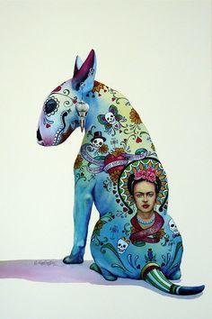 Bull terrier sugar skull art work. Frida. 'El Perro de los Muertos' © by Nick Eggleston