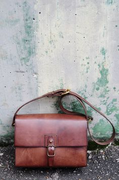 Hand Stitched Dark Brown Leather  Camera Bag/ Shoulder Bag