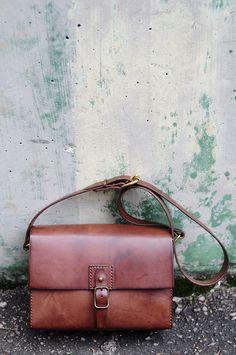 Hand Stitched Dark Brown Leather  Shoulder Bag