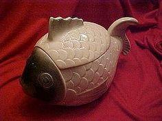 Vintage fish cookie jar made in Czechoslovakia