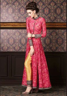Achkan Style Exquisite Salwar Kameez in Pink The lovely Mirror & Lace work a substantial attribute of this attire.