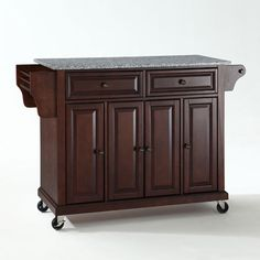 Solid Granite Top Kitchen Cart/Island in Vintage Mahogany Finish