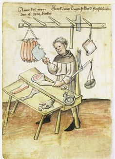 Illustration of a Butcher, Hans Lengenfelder - From the House Books of the Nuremberg Twelve Brothers Foundation, records of a charitable foundation started in the city of Nuremberg in 1388. The foundation would take 12 poor and needy people and provide them with training in a trade. Starting around 1425 their books would contain one-page illustration of the people they had helped, usually giving their name and what profession they were in. - Nuremburg, Germany - c. 1425-1450