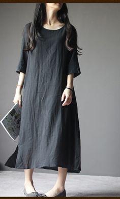 2016 New linen dress. Black linen maternity dress plus size linen summer maxi dresses summer linen clothing