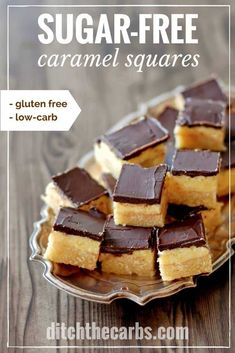 A triple layered keto treat. Salted sugar-free caramel squares are absolutely incredible and so darn easy! A triple layered keto treat. Salted sugar-free caramel squares are absolutely incredible and so darn easy! Low Carb Sweets, Low Carb Desserts, Low Carb Recipes, Real Food Recipes, Sugar Free Treats, Sugar Free Desserts, Sugar Free Recipes, Sugar Free Fudge, Keto Cookies