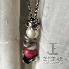 Bead Rosa Bifronte - Argento 950 -  Estefian Jewels inserito in collana TB con beads artigianali