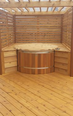 A customer just sent us this pic of a 5' diameter cedar hot from Canadian Hot Tubs built into a cedar deck.Live the pergola. Good job!