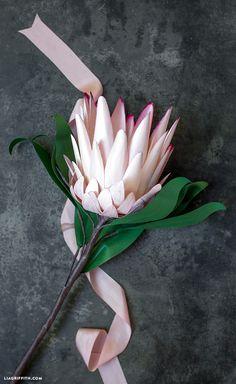 Paper Protea Flower - Lia Griffith Protea Art, Protea Flower, Recycling Containers, Paper Bouquet, Paper Magic, Metallic Paper, Paper Flowers Diy, Marker Art, Crepe Paper