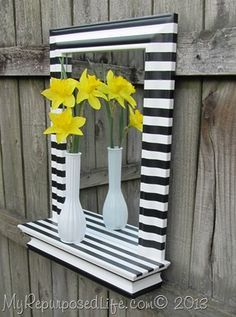 DIY with tutorial striped mirror