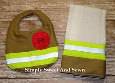 Firefighter Baby Personalized matching bib OR Burp cloth, baby shower gift, New baby Gift