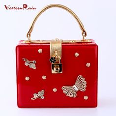 WesternRain New Popular Italy Style Bright Red Top Quality Rhinestones Butterflies Accessories For Women Evening Party Handbag 1995-3-R3 (Color: Red) Brand Name: WesternRain Item Type: bag Fine or Fashion: Fashion Included Additional Item:bag Style: Trendy Gender:Women Material:PU leather Occasion:Wedding,Party Metals Type: Copper alloy Shape: Square Size of bag: 20cmX16cm The thickness of bag: about 8cm The bag belt could be adjusted