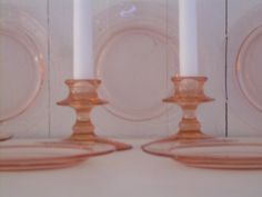 Vintage pink depression glass plates and candle holders $75