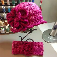 These two little hats and head/ear warmer sets have been made for two sisters.   The Pattern for the head wrap can be found on Et...
