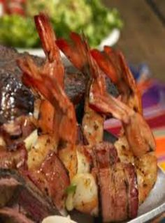 Shrimp Brochette - Butterflied shrimp are stuffed with jalapeno and wrapped in b. Shrimp Brochette - Butterflied shrimp are stuffed with jalapeno and wrapped in bacon, and it just gets better from there. Bacon Dishes, Shrimp Dishes, Food Dishes, Cajun Recipes, Easy Chicken Recipes, Shrimp Recipes, Shrimp Appetizers, Cajun Food, Seafood Dinner
