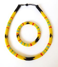 African Zulu beaded necklace and round bracelet set - Yellow by GoneRuralSafariCurio on Etsy
