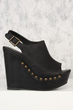 eb16db8874a Black Studded Peep Toe Platform Wedges Faux Leather  YourPinterestLikes  Spring Shoes
