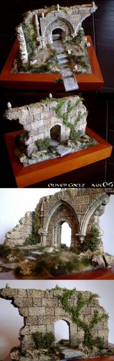 Warhammer boards make doll houses or play houses with mix mediums paper mache plaster ect Terrain 40k, Warhammer Terrain, Wargaming Terrain, Game Terrain, Fantasy Miniatures, Dollhouse Miniatures, Fairy Houses, Doll Houses, Play Houses