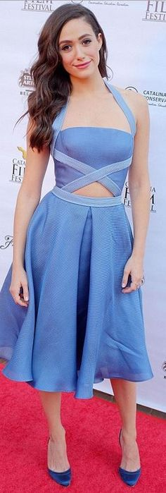 Who made Emmy Rossum's blue cut out dress that she wore in Catalina