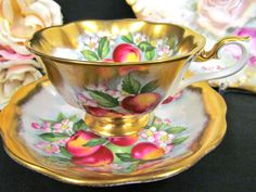 ROYAL ALBERT TEA CUP AND SAUCER AVON WIDE MOUTH APPLE BLOSSOM TEACUP