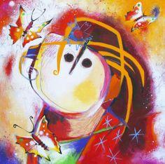 'Mariposa' ('Vlinder') van Angeles Nieto. Verschillende technieken op paneel. House Warming, Canvas, Paintings, Art, Grandchildren, Angel, Kunst, Tela, Art Background