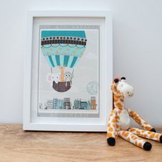 Monkey, Elephant and Giraffe in Hot Air Balloon  Fine Art Giclée Print This features 3 little friends, a monkey, an elephant and a giraffe