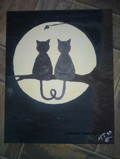 Acrylic Painting , Painting , cats , cat in moonlight