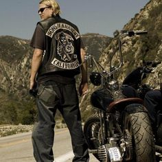 Sons of anarchy Harley Motorcycle Embroidery Leather Vest black punk Jacket LG