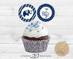 """Instant Download 2"""" Elephant Cupcake Toppers, Printable Grey Navy Elephant Baby Shower Cupcake Toppers, Blue It's A Boy Pops, Gift Tags 22G"""