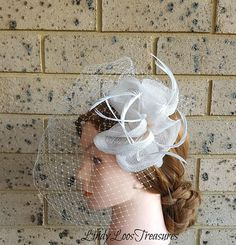 Ivory Feather Fascinator with Birdcage Veil, Birdcage Bridal Veil, Feather Bridal Fascinator, Wedding Fascinator, Ivory Races Fascinator Bridal Fascinator, Wedding Fascinators, Bridal Headbands, Wide Headband, White Bridal, Bird Cage, Mother Of The Bride, Crochet Earrings, Feather