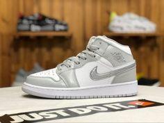 5d3dc363e03 Air Jordan 1 MID GS Grey white Mtllc Silver 555112 012 Womens Sneakers  Cheap Jordans,