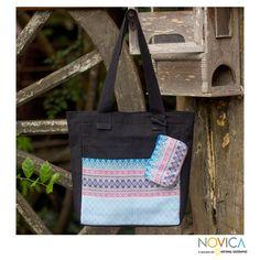Novica 'Mint Garden' Tote Handbag and Change Purse