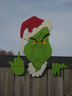 GRINCH Greeting FENCE PEEKER 4A