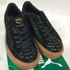 9714eb61c Puma Shoes | Puma Platform Rihanna Creeper Exotic Skin Shoes | Color:  Black/Gold | Size: 7.5