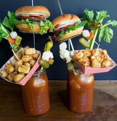 The Ultimate List of Bloody Mary Garnishes. Make your perfect bloody mary. Plus EXTRA] Loaded Bloody Mary Garnish Ideas to blow your mind. Caesar Drink, Bloody Mary Bar, Bloody Mary Recipes, Margarita Recipes, Fabulous Foods, Clean Eating Snacks, Vegan Recipes, Vegan Foods, Food Photography