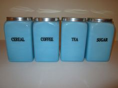Milk Glass w / Color  . . .    McKee Chalaine Blue 4 Canister Set with Press-on Lids - RARE