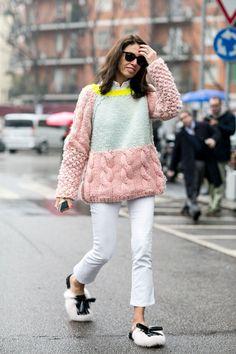 chunky knit. Vivs in Milan. #VivianaVolpicella