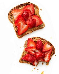Healthy Snack: Strawberry  Peanut Butter Toast - I eat this every morning but with cinnamon raisin bread.