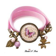 """Bracelet """" papillon rose """" bijou fantaisie cabochon bronze shabby fleurs"""
