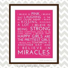 I Believe in Pink  Audrey Hepburn Inspirational by SprinkledJoy, $13.95