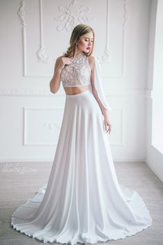 Wedding skirt Silk bridal skirt White maxi skirt by LiluBridal