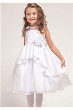 Elegant White Satin Flower Girl Dress with Lace Trim - Sale Price: $46.99
