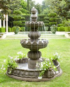 "Love this fountain (Three-Tier ""Castle"" Fountain from Horchow) and the way you can plant succulents in the four corners!"