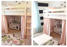 this is an ikea bunk bed, converted to a lower loft. we have this same bunk and i have been thinking of doing the same thing.