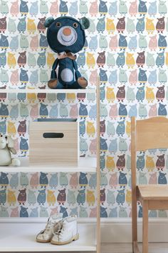 Bear Grills by Linnea Nilsson Lundell  #wallmural #wallpaper #kidswallpaper #cute #beras #pattern #kidsroom #barnrum #photowallsweden