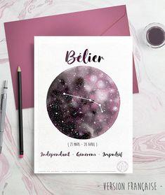 Carte Astrologie Signes du Zodiac Bélier Aries dessin