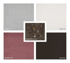 Marble: Emperador Hide Leather: 5004 Fabrics: Ernest 340, 342 Velvet: Eldorado 1555 Moodboard Inspiration, Mood Boards, Marble, Places To Visit, Fabrics, Velvet, Shades, Texture, Leather