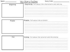 For the Love of First Grade: Beginning/Middle/End story writing outline template {freebie}
