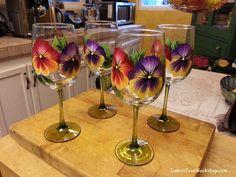 Hand Painted Pansies Wine Glasses 18.5 oz by LemonTreeWorkshop